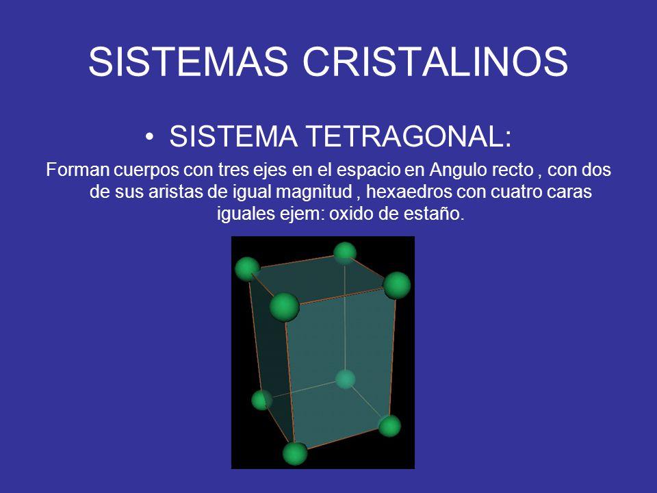 SISTEMAS CRISTALINOS SISTEMA TETRAGONAL: Forman cuerpos con tres ejes en el espacio en Angulo recto, con dos de sus aristas de igual magnitud, hexaedr