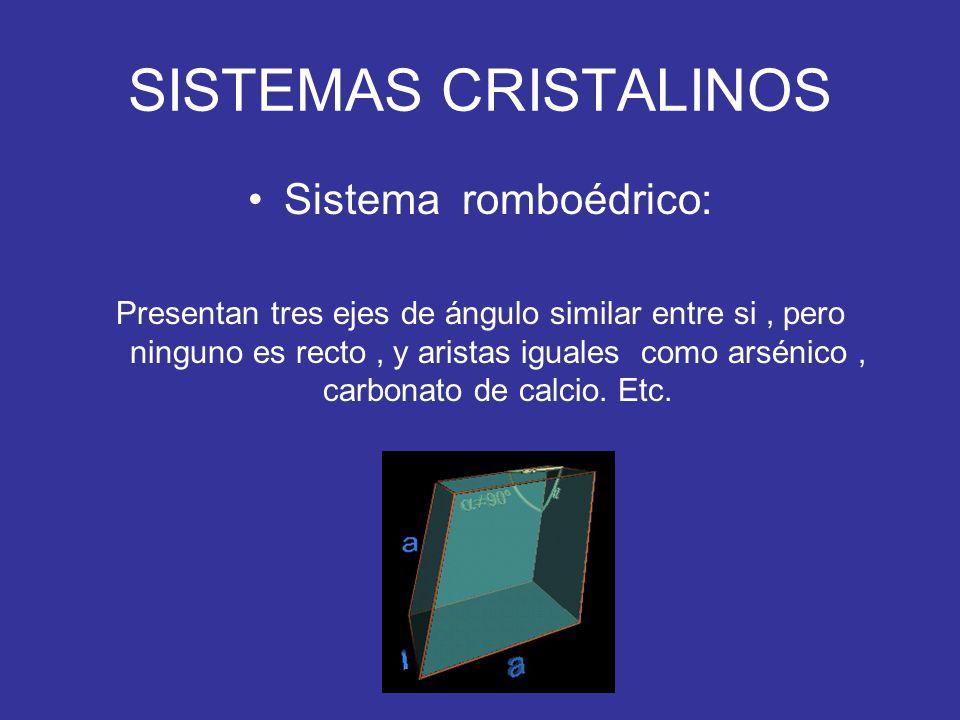 SISTEMAS CRISTALINOS Sistema romboédrico: Presentan tres ejes de ángulo similar entre si, pero ninguno es recto, y aristas iguales como arsénico, carb