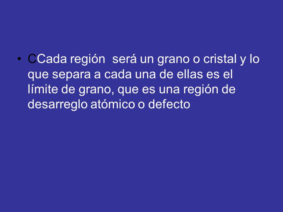 CCada región será un grano o cristal y lo que separa a cada una de ellas es el límite de grano, que es una región de desarreglo atómico o defecto