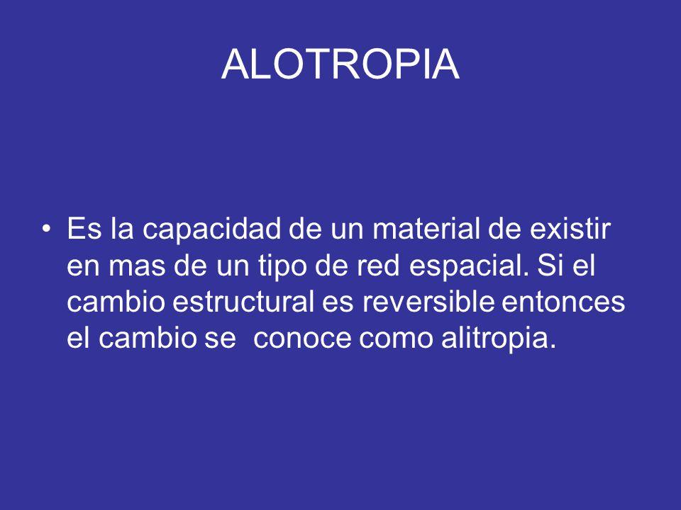 ALOTROPIA Es la capacidad de un material de existir en mas de un tipo de red espacial. Si el cambio estructural es reversible entonces el cambio se co