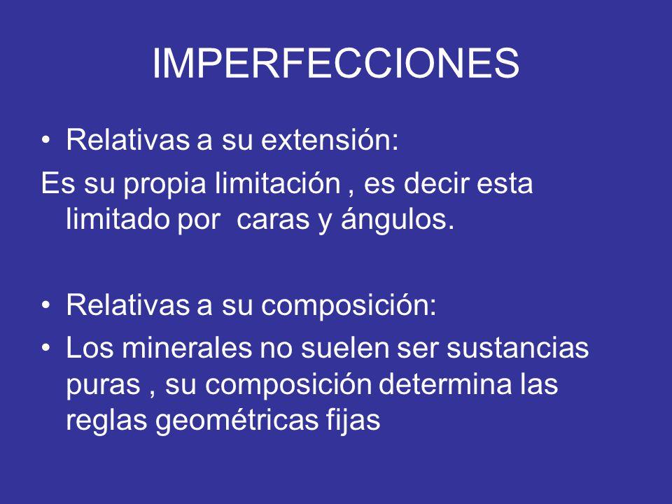 IMPERFECCIONES Relativas a su extensión: Es su propia limitación, es decir esta limitado por caras y ángulos. Relativas a su composición: Los minerale