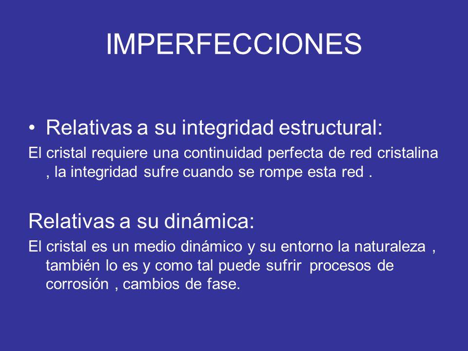 IMPERFECCIONES Relativas a su integridad estructural: El cristal requiere una continuidad perfecta de red cristalina, la integridad sufre cuando se ro