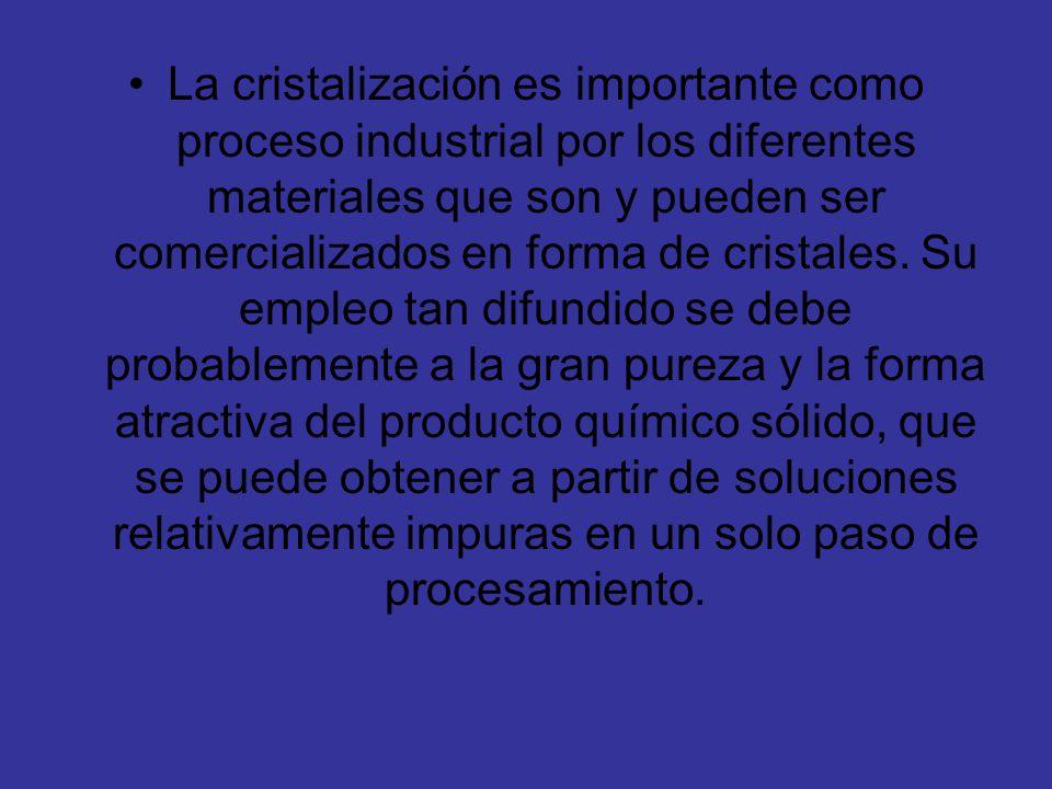 La cristalización es importante como proceso industrial por los diferentes materiales que son y pueden ser comercializados en forma de cristales. Su e