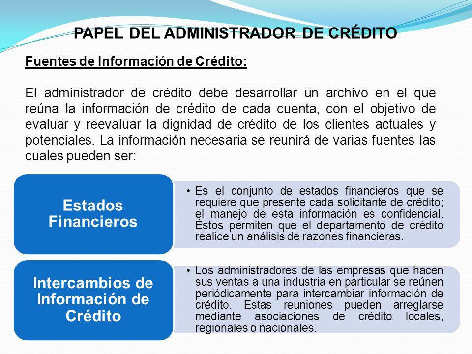 PAPEL DEL ADMINISTRADOR DE CRÉDITO Fuentes de Información de Crédito: El administrador de crédito debe desarrollar un archivo en el que reúna la información de crédito de cada cuenta, con el objetivo de evaluar y reevaluar la dignidad de crédito de los clientes actuales y potenciales.