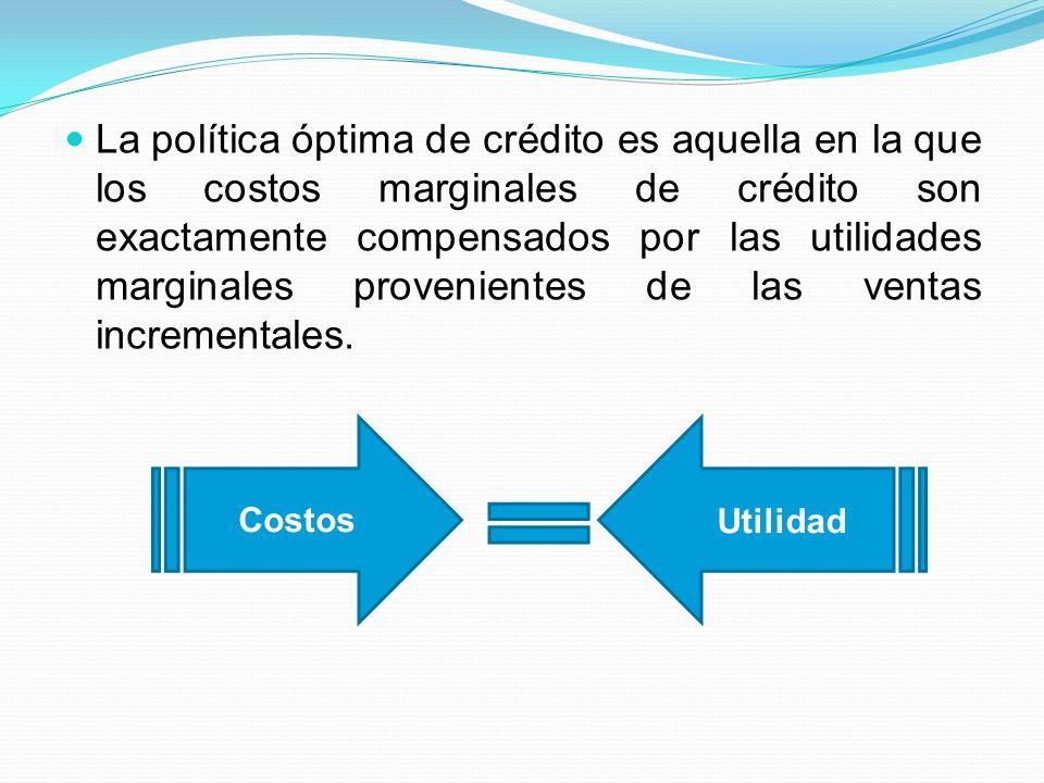 La política óptima de crédito es aquella en la que los costos marginales de crédito son exactamente compensados por las utilidades marginales provenientes de las ventas incrementales.
