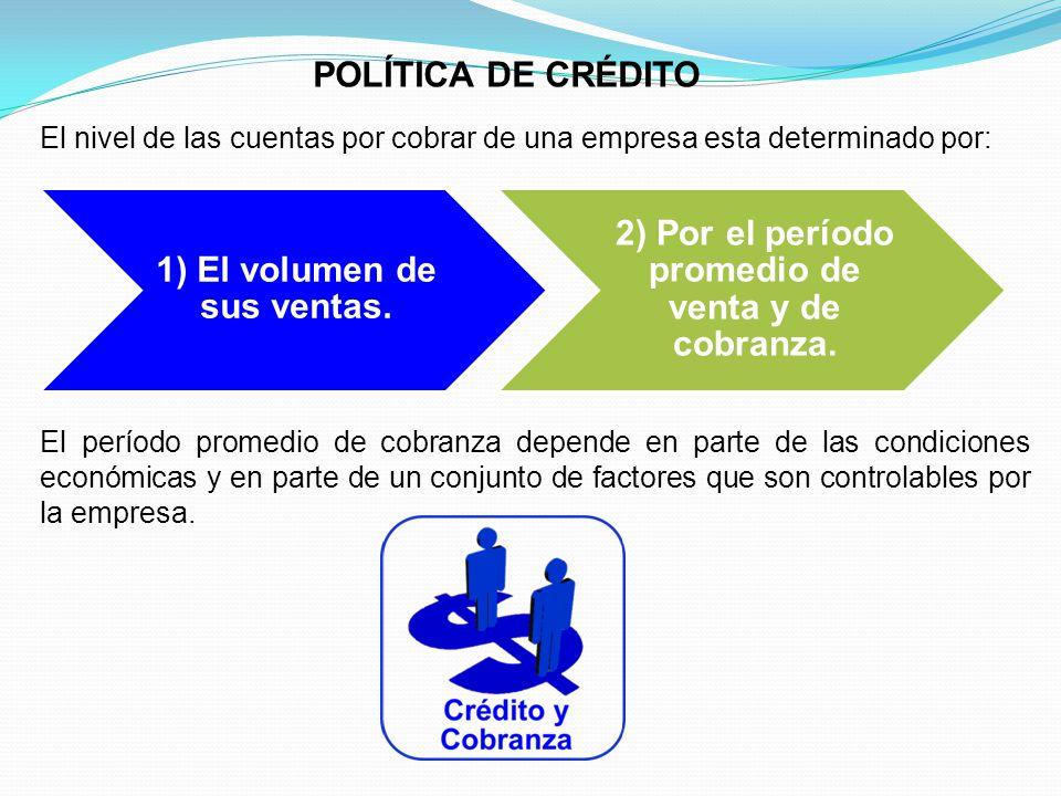 POLÍTICA DE CRÉDITO El nivel de las cuentas por cobrar de una empresa esta determinado por: 1) El volumen de sus ventas.