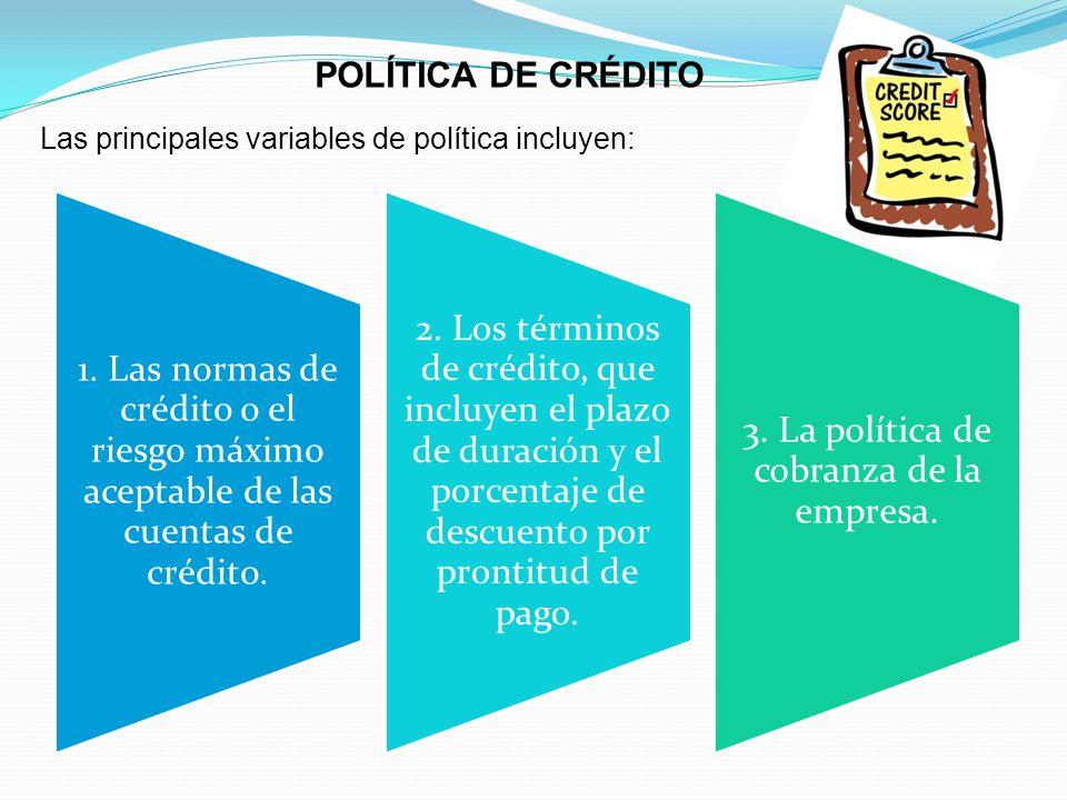 POLÍTICA DE CRÉDITO Las principales variables de política incluyen: 1.