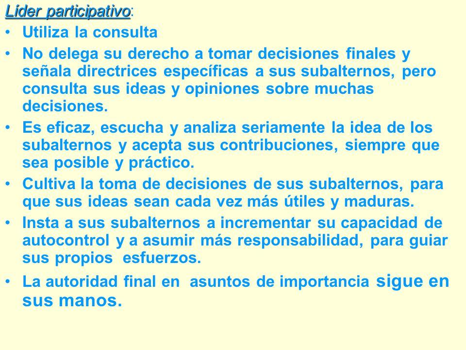 LIDER AUTÓCRATA: ASUME TODAS LAS RESPONSABILIDADES DE LA TOMA DE DECISIONES INICIA ACCIONES DIRIGE, MOTIVA Y CONTROLA AL SUBALTERNO PUEDE CONSIDERAR QUE SOLO ÉL ES CAPAZ DE TOMAR DECISIONES IMPORTANTES, LA RESPUESTA QUE LE PIDE A LOS SUBALTERNOS ES DE OBEDIENCIA, ADHESIÓN A SUS DECISIONES.