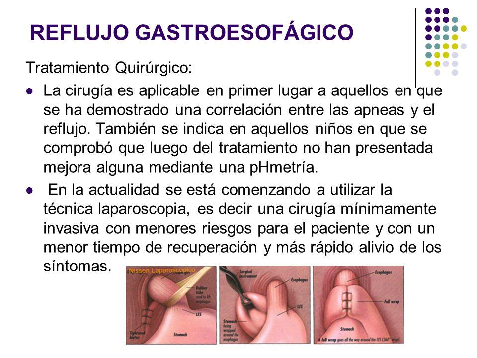 REFLUJO GASTROESOFÁGICO Tratamiento Quirúrgico: La cirugía es aplicable en primer lugar a aquellos en que se ha demostrado una correlación entre las a