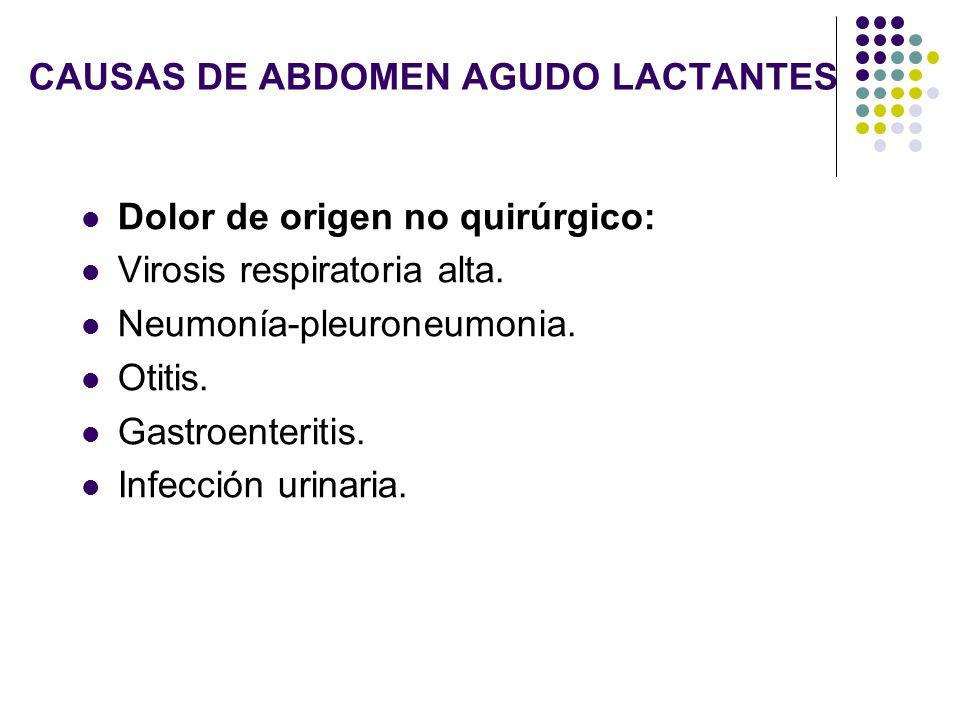 CAUSAS DE ABDOMEN AGUDO LACTANTES Dolor de origen no quirúrgico: Virosis respiratoria alta. Neumonía-pleuroneumonia. Otitis. Gastroenteritis. Infecció