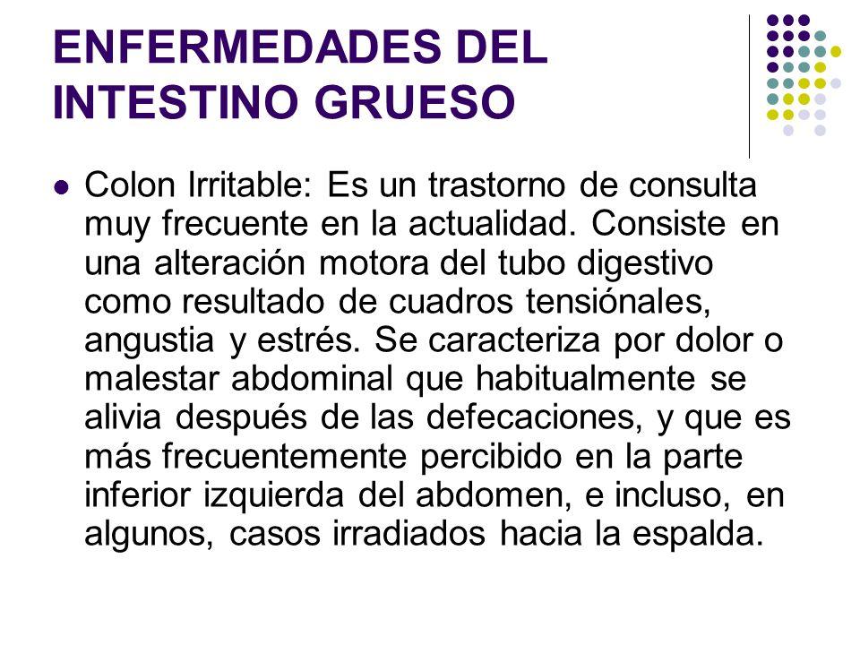 ENFERMEDADES DEL INTESTINO GRUESO Colon Irritable: Es un trastorno de consulta muy frecuente en la actualidad. Consiste en una alteración motora del t