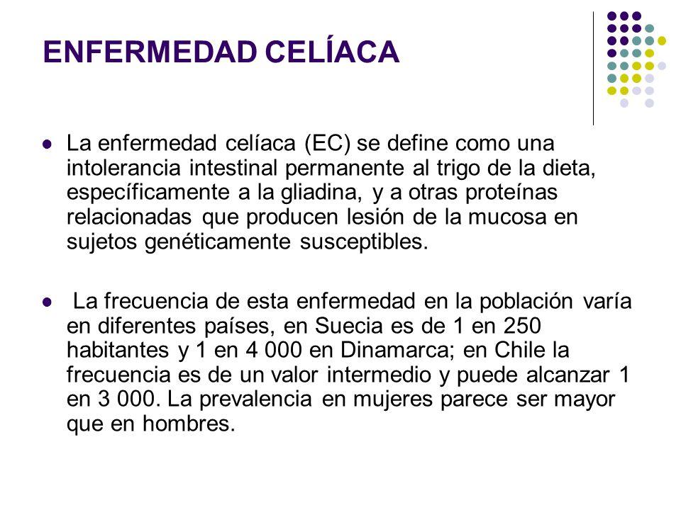La enfermedad celíaca (EC) se define como una intolerancia intestinal permanente al trigo de la dieta, específicamente a la gliadina, y a otras proteí