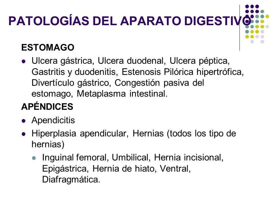 PATOLOGÍAS DEL APARATO DIGESTIVO ESTOMAGO Ulcera gástrica, Ulcera duodenal, Ulcera péptica, Gastritis y duodenitis, Estenosis Pilórica hipertrófica, D