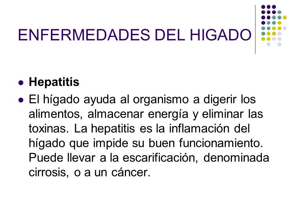 ENFERMEDADES DEL HIGADO Hepatitis El hígado ayuda al organismo a digerir los alimentos, almacenar energía y eliminar las toxinas. La hepatitis es la i