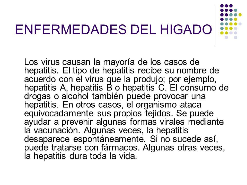 ENFERMEDADES DEL HIGADO Los virus causan la mayoría de los casos de hepatitis. El tipo de hepatitis recibe su nombre de acuerdo con el virus que la pr