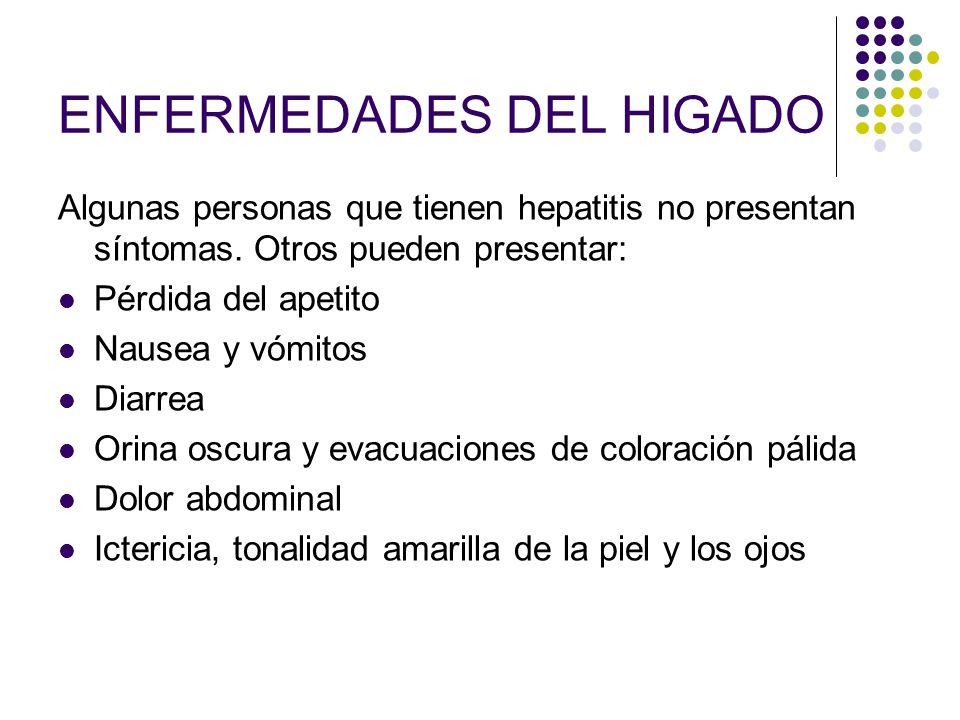ENFERMEDADES DEL HIGADO Algunas personas que tienen hepatitis no presentan síntomas. Otros pueden presentar: Pérdida del apetito Nausea y vómitos Diar