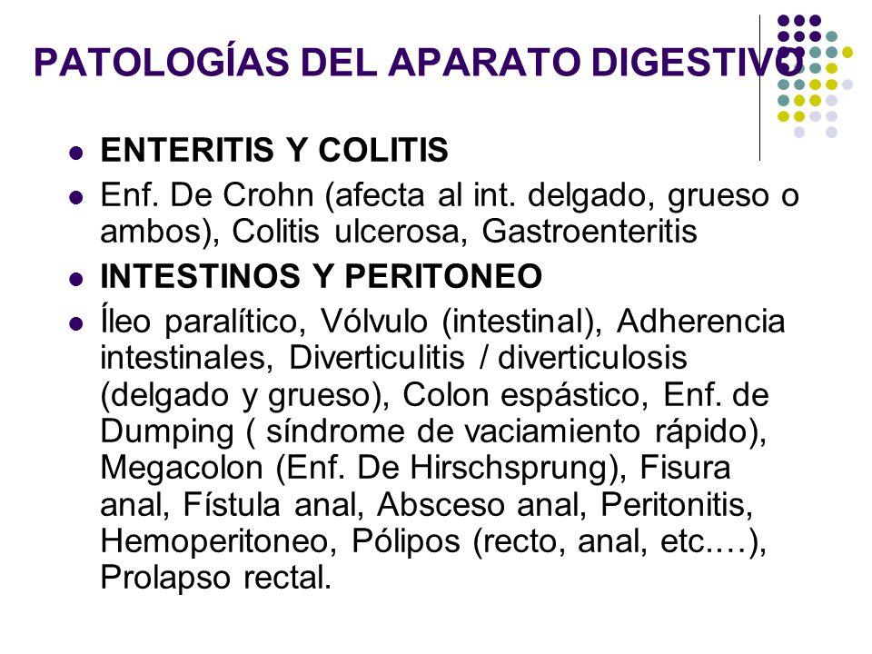 PATOLOGÍAS DEL APARATO DIGESTIVO ENTERITIS Y COLITIS Enf. De Crohn (afecta al int. delgado, grueso o ambos), Colitis ulcerosa, Gastroenteritis INTESTI