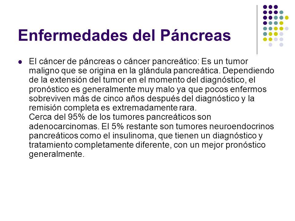 Enfermedades del Páncreas El cáncer de páncreas o cáncer pancreático: Es un tumor maligno que se origina en la glándula pancreática. Dependiendo de la