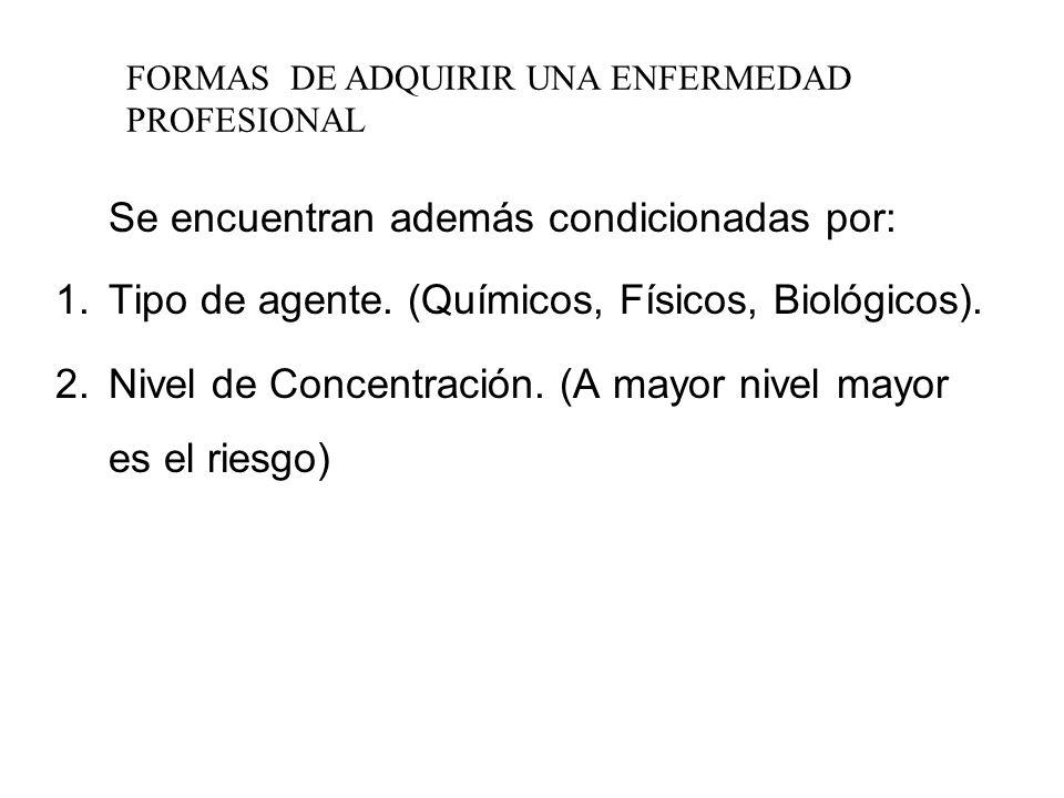 Enfermedad Profesional Pueden ser adquiridas por la acción de: Sustancias Químicas. Energías. Agentes Biológicos.