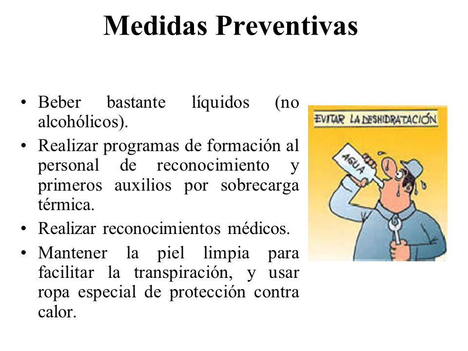 Medidas Preventivas Controlar los focos radiantes (apantallamiento). Limitar carga física de trabajo. Realizar aclimatación correcta y establecer peri