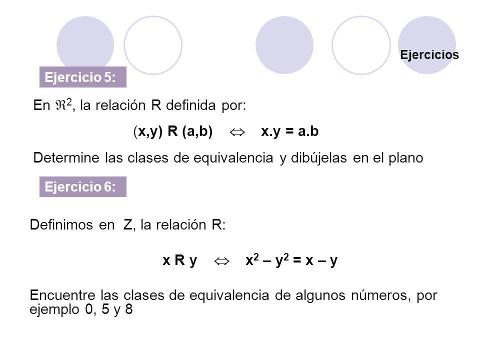 Ejercicios Ejercicio 5: Definimos en Z, la relación R: x R y x 2 – y 2 = x – y Encuentre las clases de equivalencia de algunos números, por ejemplo 0,