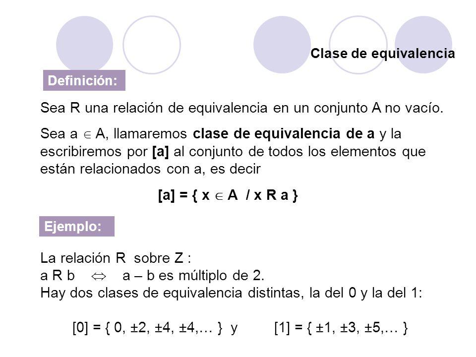 Clase de equivalencia Definición: Sea R una relación de equivalencia en un conjunto A no vacío. Sea a A, llamaremos clase de equivalencia de a y la es