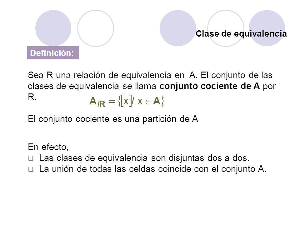 Clase de equivalencia Definición: Sea R una relación de equivalencia en A. El conjunto de las clases de equivalencia se llama conjunto cociente de A p