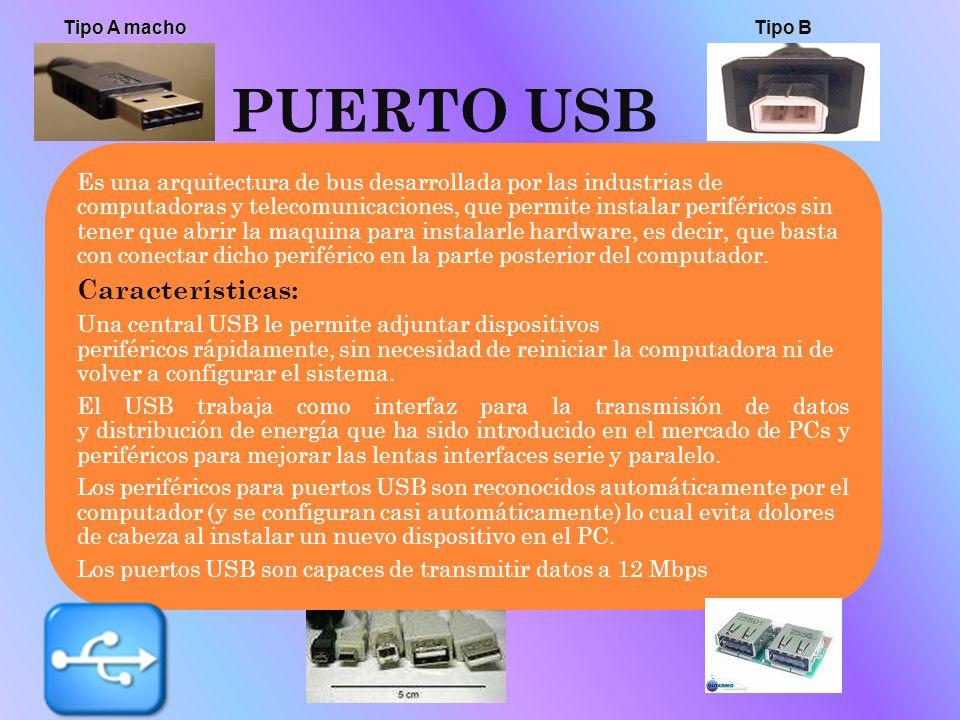 PUERTO USB Es una arquitectura de bus desarrollada por las industrias de computadoras y telecomunicaciones, que permite instalar periféricos sin tener