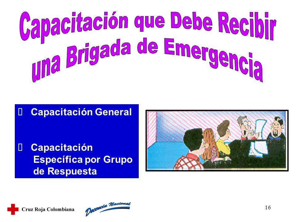 16 Capacitación General Capacitación Específica por Grupo de Respuesta