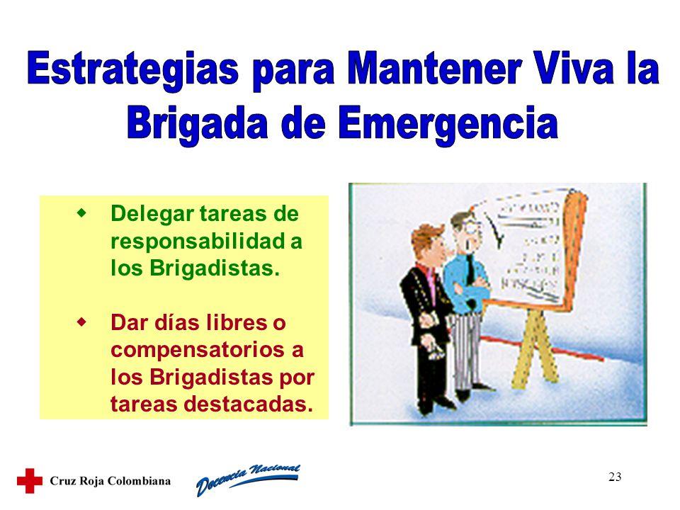23 Delegar tareas de responsabilidad a los Brigadistas. Dar días libres o compensatorios a los Brigadistas por tareas destacadas.
