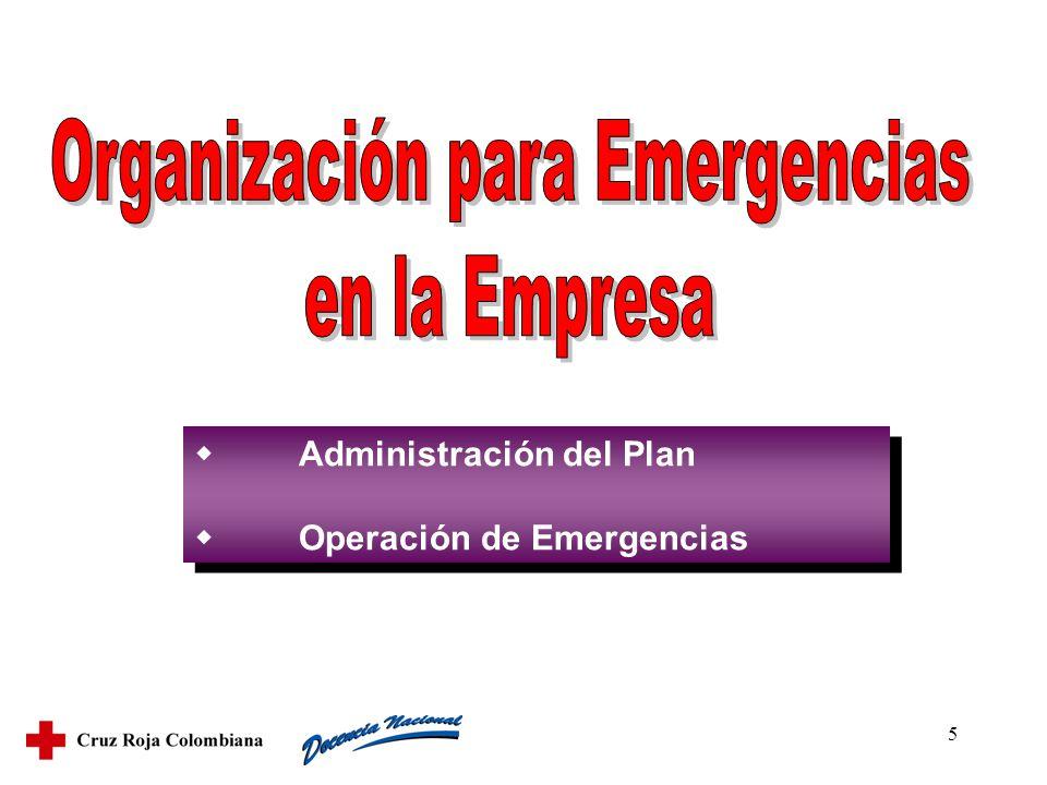 5 Administración del Plan Operación de Emergencias Administración del Plan Operación de Emergencias