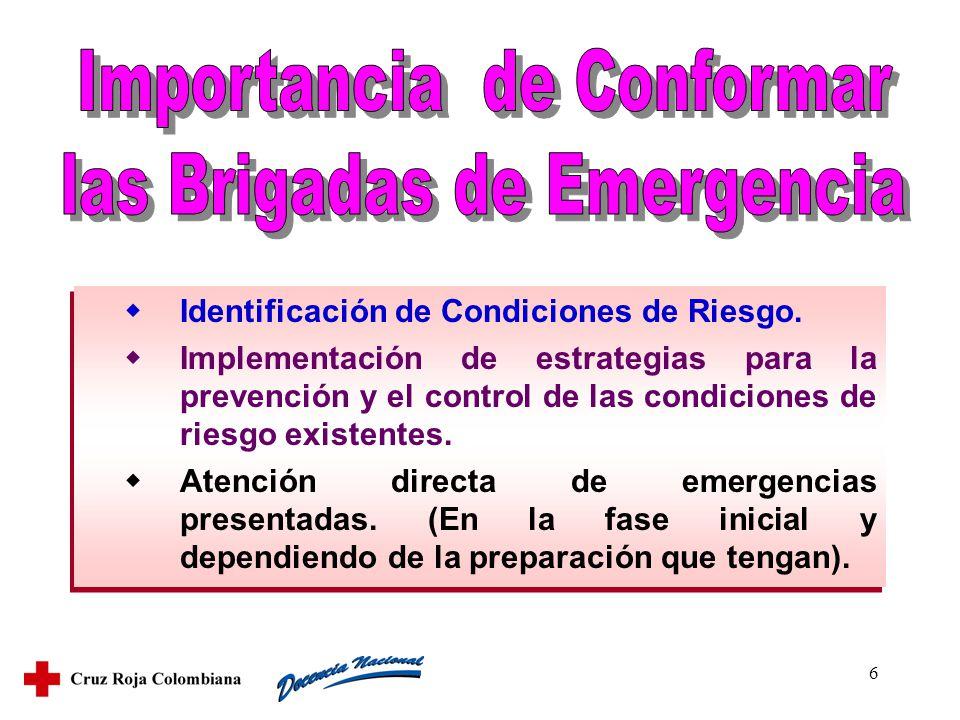 6 Identificación de Condiciones de Riesgo. Implementación de estrategias para la prevención y el control de las condiciones de riesgo existentes. Aten