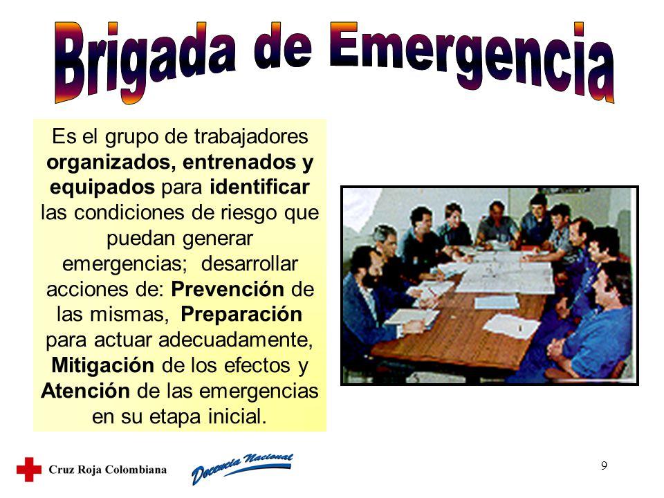 9 Es el grupo de trabajadores organizados, entrenados y equipados para identificar las condiciones de riesgo que puedan generar emergencias; desarroll