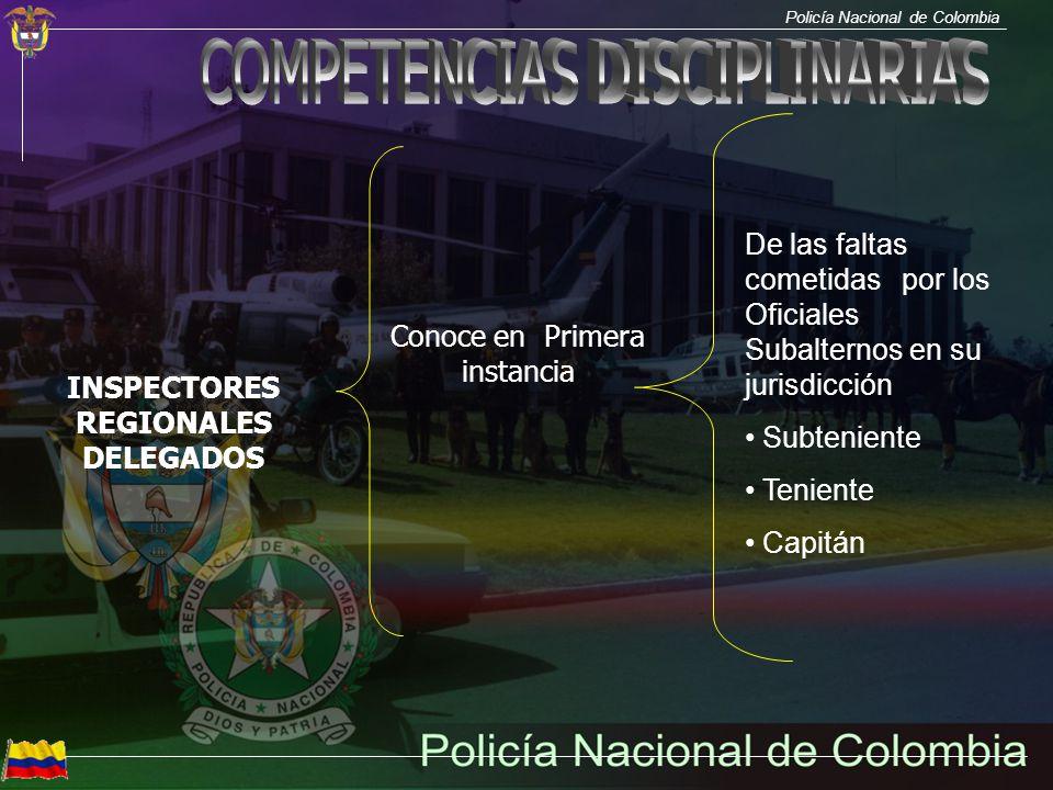 Policía Nacional de Colombia INSPECTORES REGIONALES DELEGADOS Conoce en Primera instancia De las faltas cometidas por los Oficiales Subalternos en su