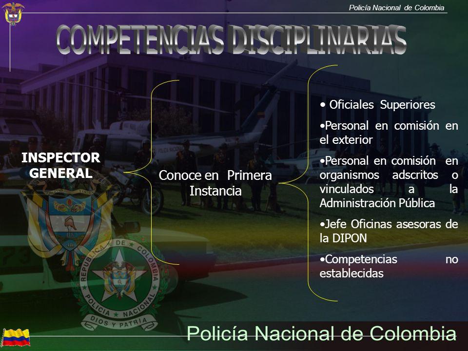 Policía Nacional de Colombia INSPECTOR GENERAL Conoce en Primera Instancia Oficiales Superiores Personal en comisión en el exterior Personal en comisi