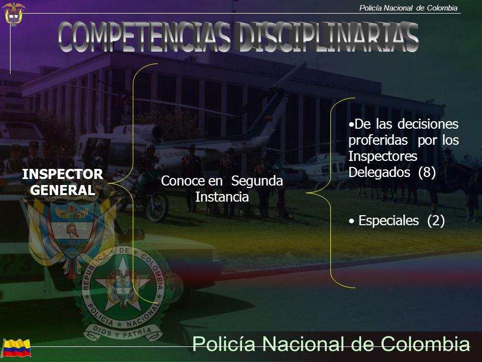 Policía Nacional de Colombia INSPECTOR GENERAL Conoce en Segunda Instancia De las decisiones proferidas por los Inspectores Delegados (8) Especiales (
