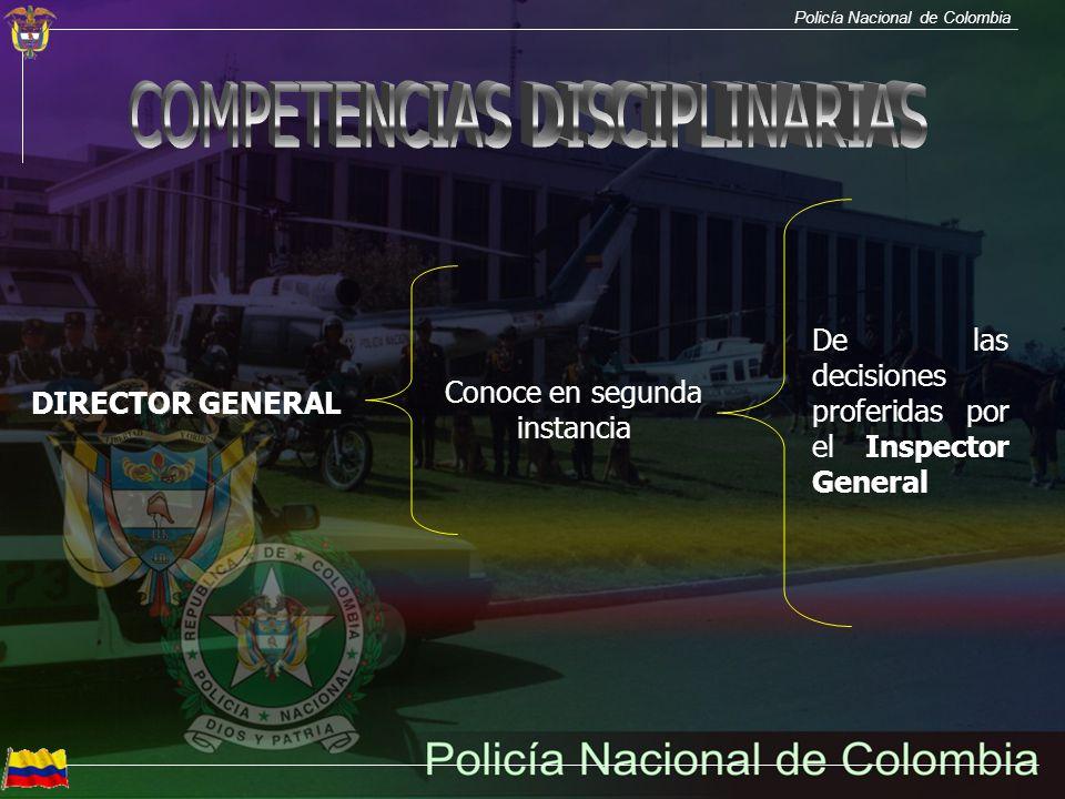 Policía Nacional de Colombia DIRECTOR GENERAL Conoce en segunda instancia De las decisiones proferidas por el Inspector General