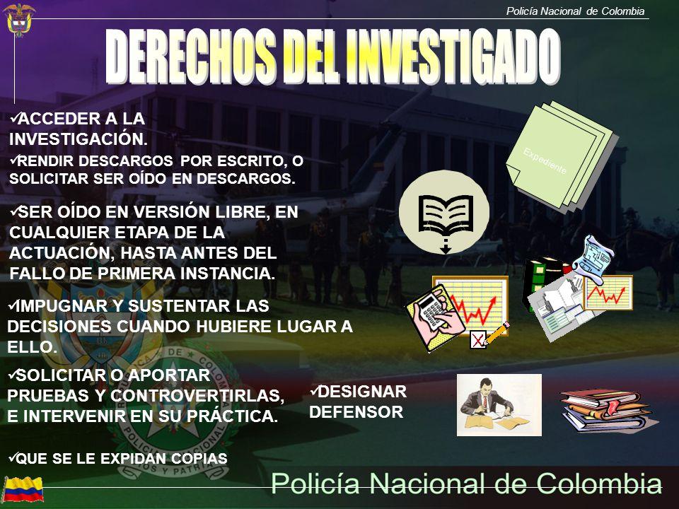 Policía Nacional de Colombia QUE SE LE EXPIDAN COPIAS Expediente ACCEDER A LA INVESTIGACIÓN. RENDIR DESCARGOS POR ESCRITO, O SOLICITAR SER OÍDO EN DES