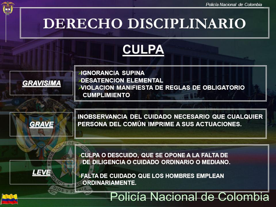 Policía Nacional de Colombia DERECHO DISCIPLINARIO CULPA IGNORANCIA SUPINA DESATENCION ELEMENTAL VIOLACION MANIFIESTA DE REGLAS DE OBLIGATORIO CUMPLIM