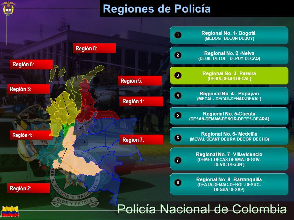 Policía Nacional de Colombia Región 1: Regional No. 1- Bogotá (MEBOG- DECUN-DEBOY) 1 Región 2: Regional No. 2 -Neiva (DEUIL-DETOL- DEPUY-DECAQ) 2 Regi