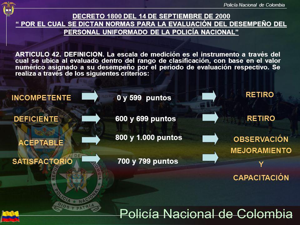 Policía Nacional de Colombia DECRETO 1800 DEL 14 DE SEPTIEMBRE DE 2000 POR EL CUAL SE DICTAN NORMAS PARA LA EVALUACIÓN DEL DESEMPEÑO DEL PERSONAL UNIF