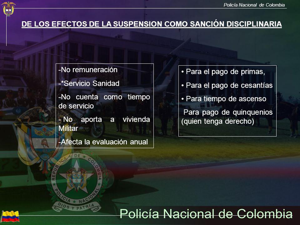 Policía Nacional de Colombia DE LOS EFECTOS DE LA SUSPENSION COMO SANCIÓN DISCIPLINARIA -No remuneración -*Servicio Sanidad -No cuenta como tiempo de