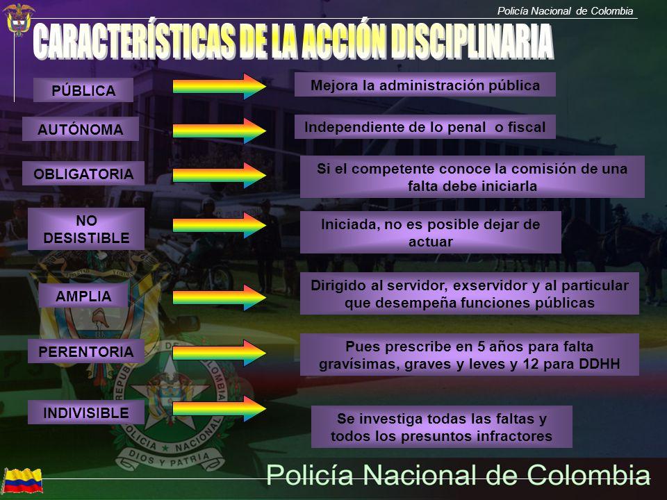 Policía Nacional de Colombia PÚBLICA AUTÓNOMA OBLIGATORIA AMPLIA PERENTORIA INDIVISIBLE NO DESISTIBLE Mejora la administración pública Independiente d