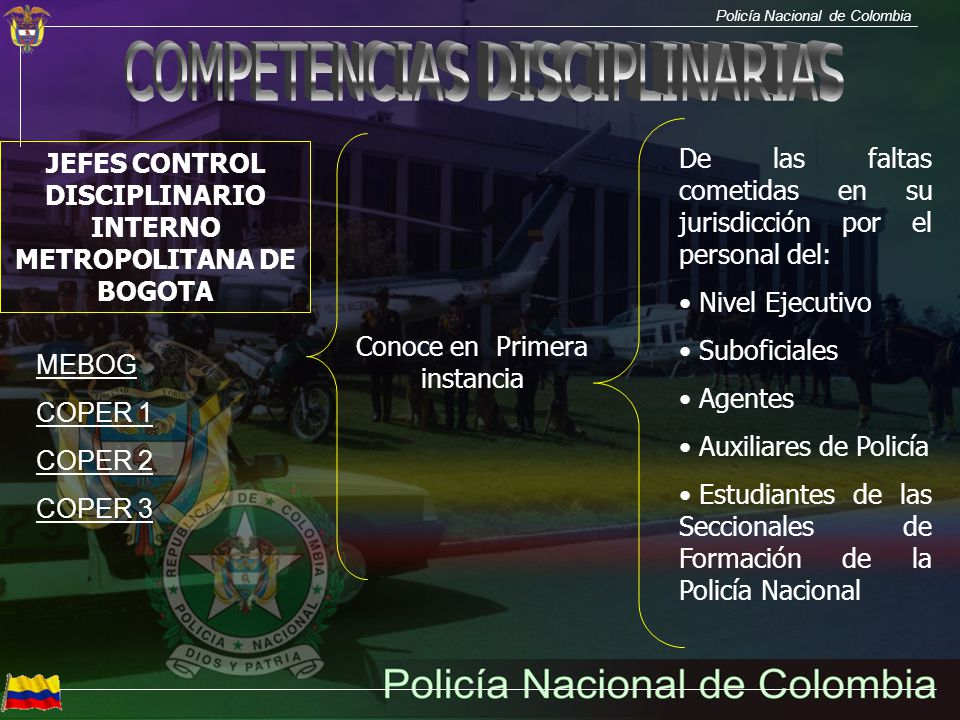 Policía Nacional de Colombia JEFES CONTROL DISCIPLINARIO INTERNO METROPOLITANA DE BOGOTA Conoce en Primera instancia De las faltas cometidas en su jur
