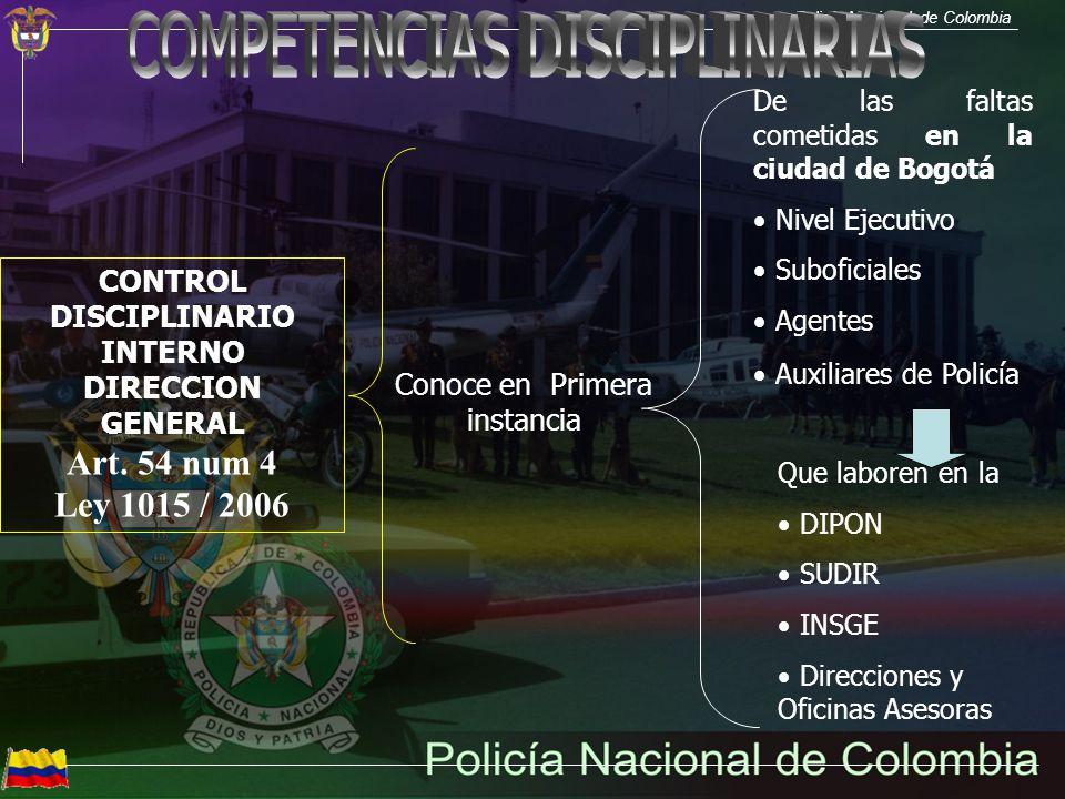 Policía Nacional de Colombia INSPECTORES DELEGADOS ESPECIALES Conoce en Primera instancia Ejerce la atribución disciplinaria en asuntos de su competencia, para las faltas cometidas en la ciudad de Bogotá, por el personal de oficiales subalternos, con excepción de la competencia de la Inspección Delegada Especial de la Dirección General.