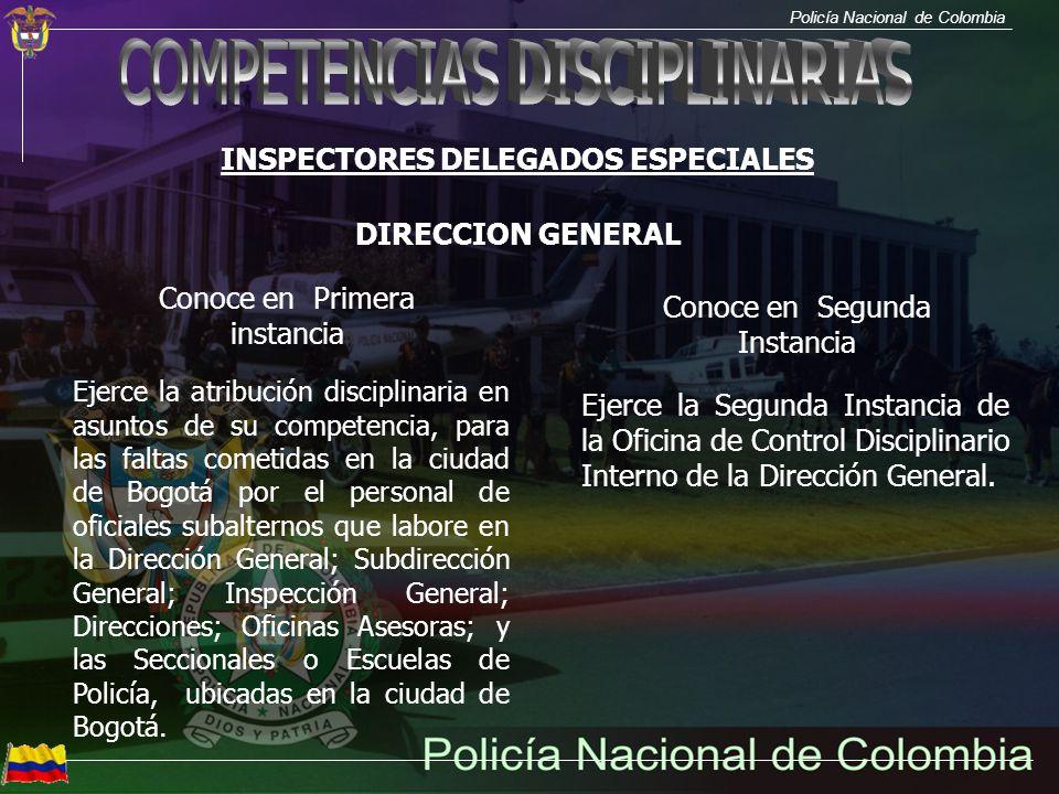 Policía Nacional de Colombia INSPECTORES DELEGADOS ESPECIALES Conoce en Primera instancia Ejerce la atribución disciplinaria en asuntos de su competen