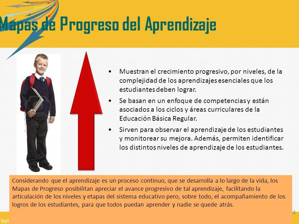 Muestran el crecimiento progresivo, por niveles, de la complejidad de los aprendizajes esenciales que los estudiantes deben lograr. Se basan en un enf