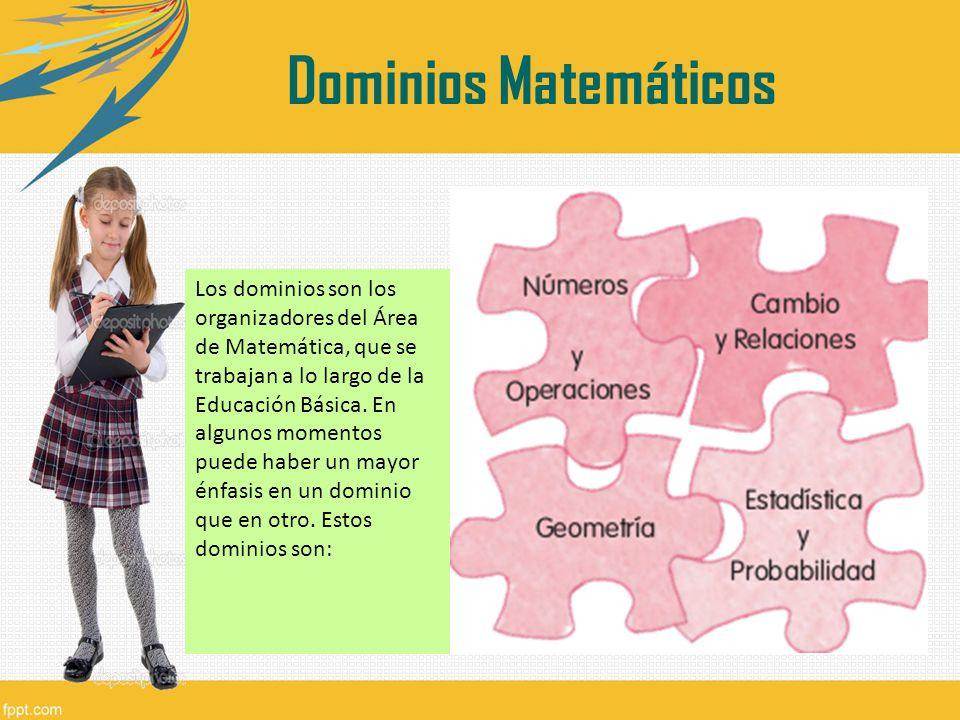 Los dominios son los organizadores del Área de Matemática, que se trabajan a lo largo de la Educación Básica. En algunos momentos puede haber un mayor