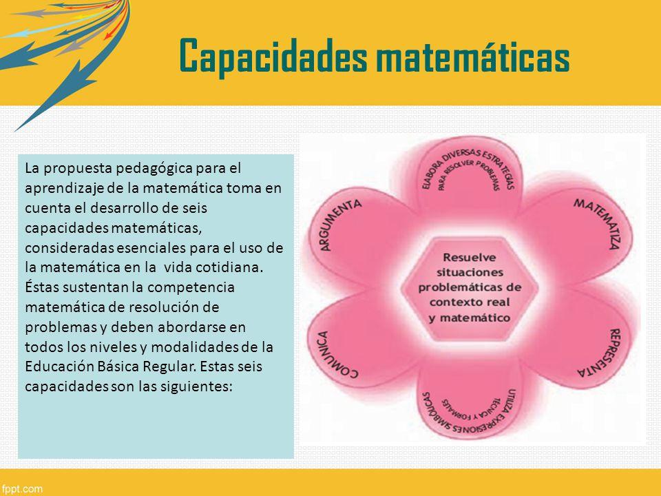 La propuesta pedagógica para el aprendizaje de la matemática toma en cuenta el desarrollo de seis capacidades matemáticas, consideradas esenciales par