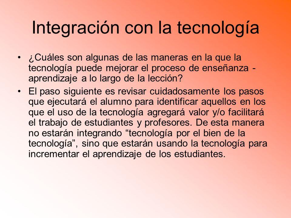 Integración con la tecnología ¿Cuáles son algunas de las maneras en la que la tecnología puede mejorar el proceso de enseñanza - aprendizaje a lo largo de la lección.